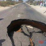 هبوط أرضي مفاجئ بطريق الساحل غرب الإسكندرية