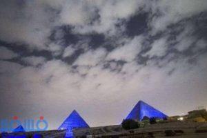 صور.. معالم أثرية باللون الأزرق إحتفالاً باليوم العالمي للأمم المتحدة