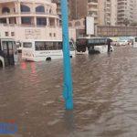 صور.. شاهد غرق إستاد برج العرب أثناء الأمطار والسيول