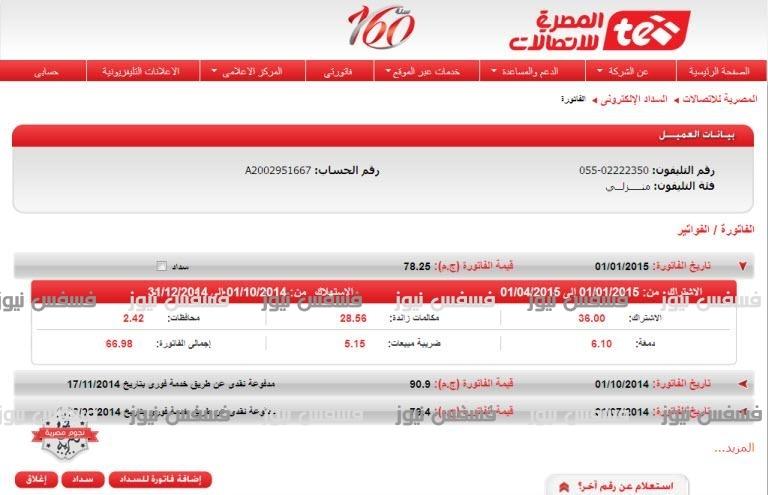 فاتورة التليفون الأرضى شهر أبربل2017 بالاسم من المصرية للاتصالات سدد فاتورة الأنترنت