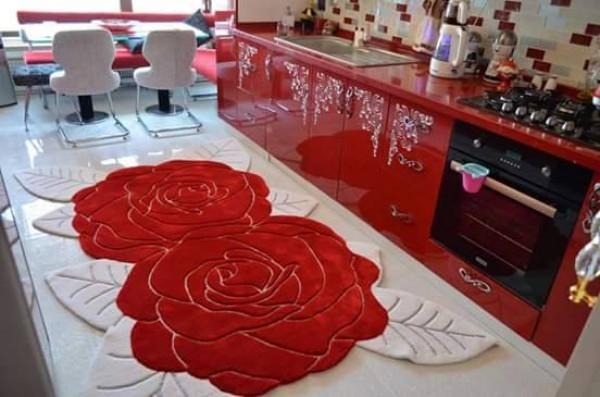 تصميم سجادة وردة للمطبخ