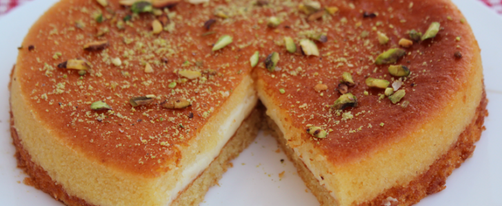 طريقة عمل البسبوسة بالقشدة حلوي رمضانية